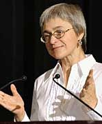 Journalist Anna Politkovskaya was killed on Saturday in a contract-style shooting.