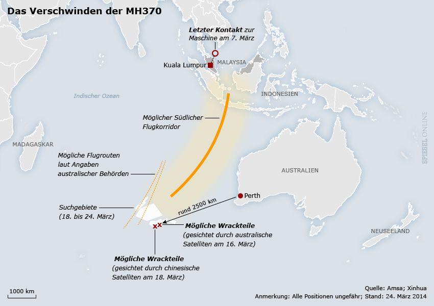 Karte - MH370 - Stand: 24.03.2014