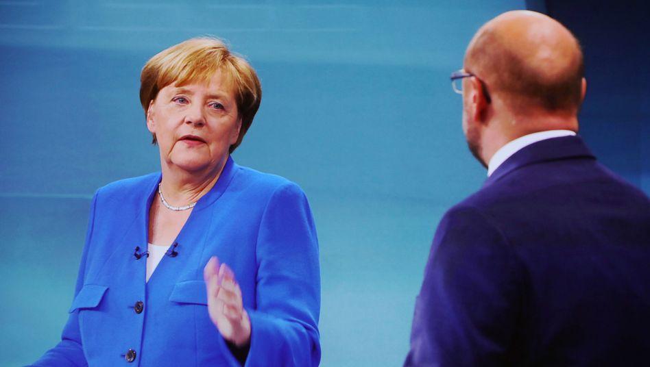 Bundeskanzlerin Angela Merkel und SPD-Kanzlerkandidat Martin Schulz
