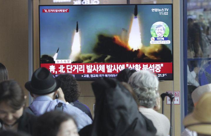 Nordkoreanische Raketentests in einer Südkoreanischen Nachrichtensendung im Mai 2019