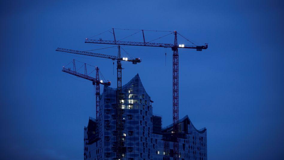 Baustelle der Elbphilharmonie: Notturno in Brutto-Moll