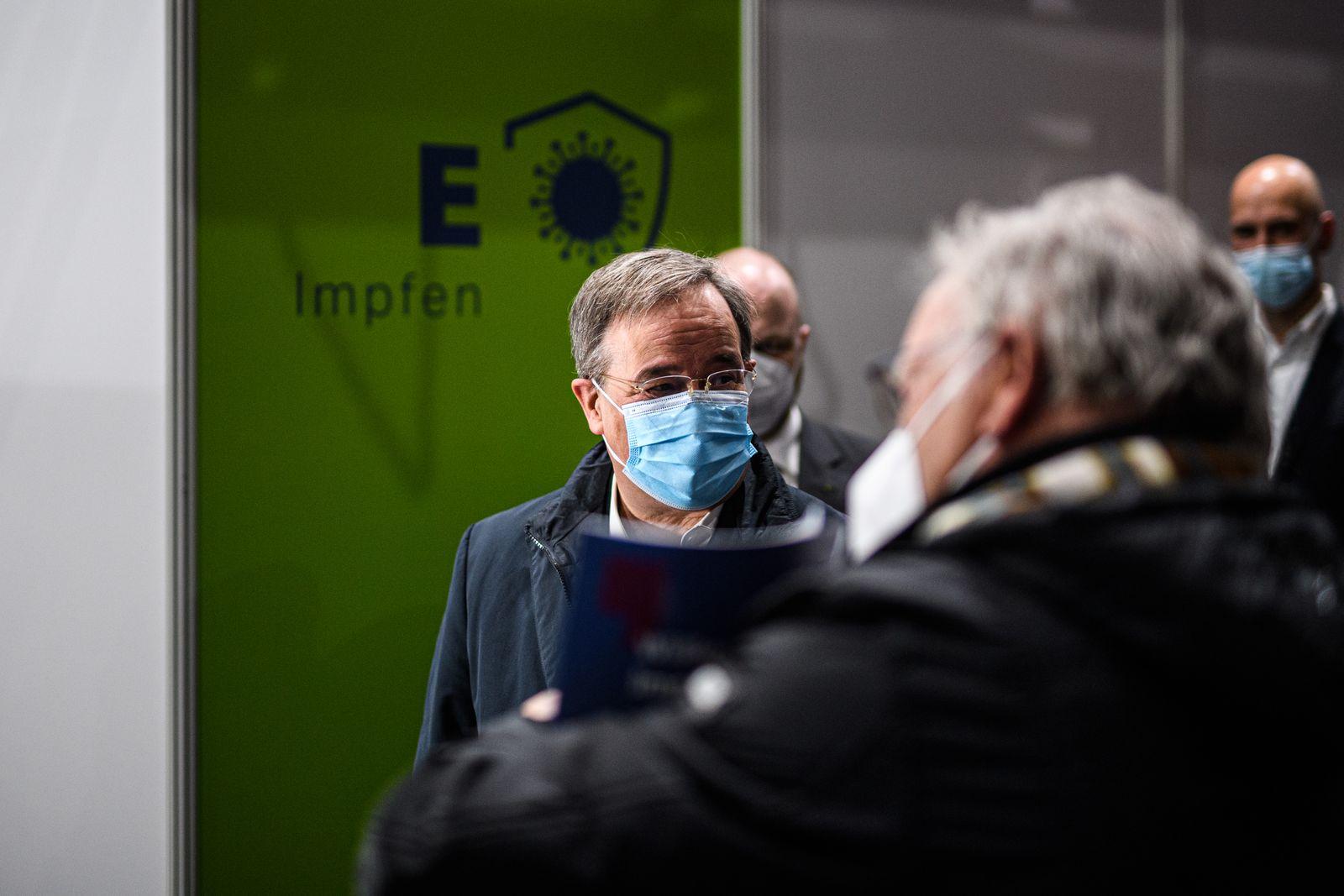 Armin Laschet Visits Aachen Vaccination Center