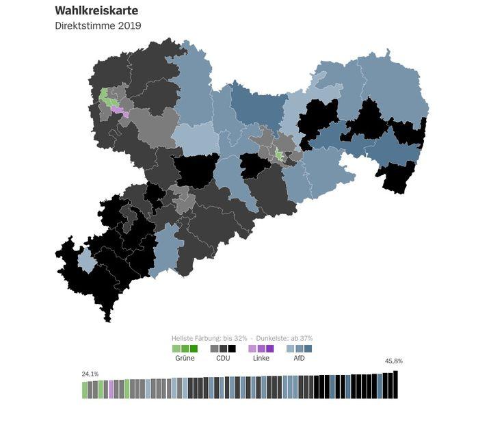 Wahlkreiskarte zur Landtagswahl: Schwarz-blaues Sachsen