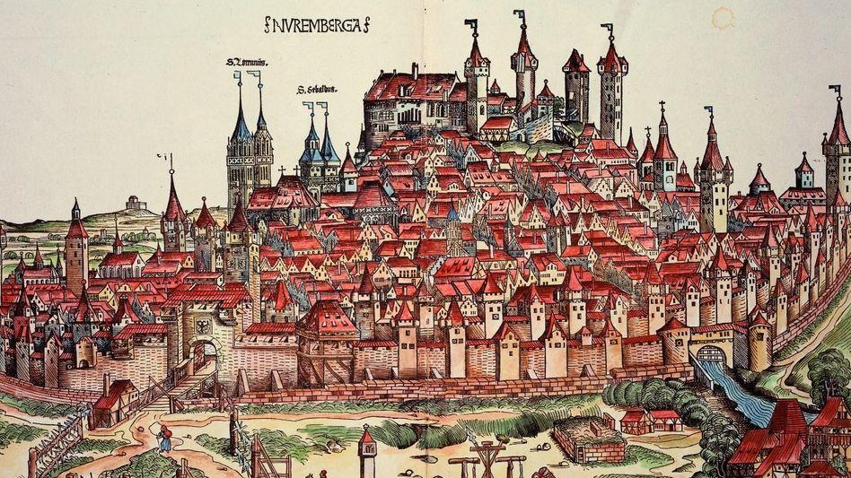 Älteste gedruckte Stadtansicht Nürnbergs aus Hartmann Schedels Weltchronik Holzschnitt, 1493; rechts unten die erste Papiermühle