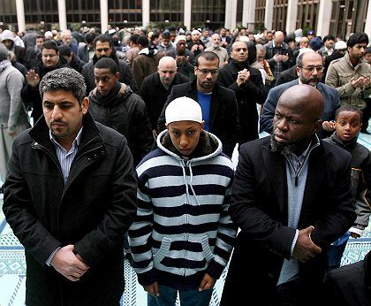 """Muslims attending Friday prayers at a mosque in central London: """"a haven of peace"""""""