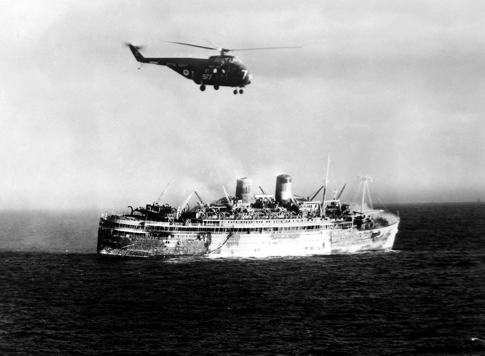 27 DECEMBER 1963 THE CRUISE LINER LAKONIA WHICH CAUGHT FIRE IN THE ATLANTIC OCEAN ABOUT 180 MILES NO