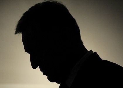 The silhouette of Mirek Topolanek is seen during a press conference Tuesday. The Czech prime minister has lost a no-confidence vote.