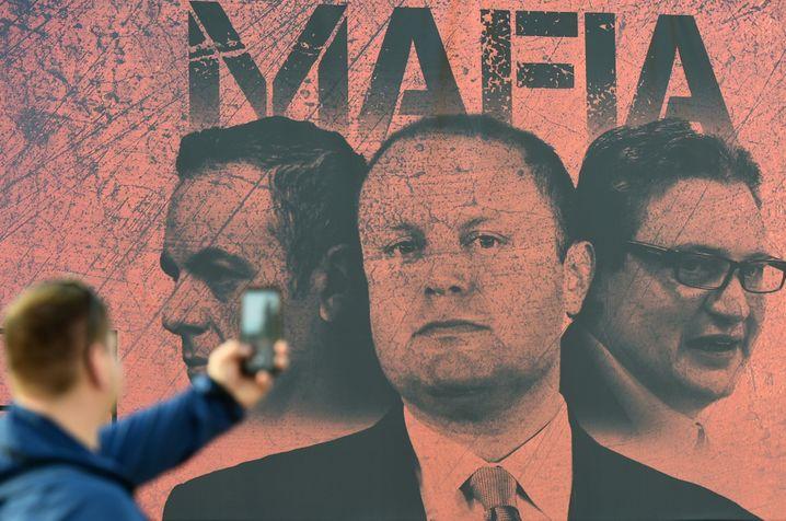 A poster of Maltese Prime Minister Joseph Muscat