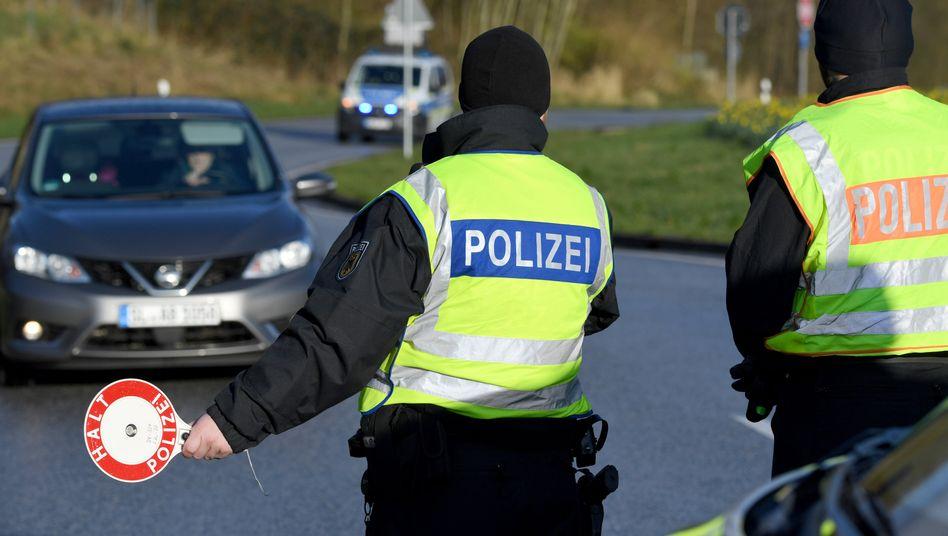 Kontrollpunkt an der deutsch-dänischen Grenze