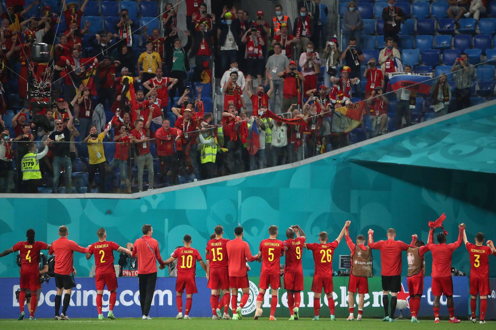 ST PETERSBURG, RUSSIA - JUNE 12, 2021: Belgium s players celebrate victory in the UEFA EURO, EM, Europameisterschaft,Fus