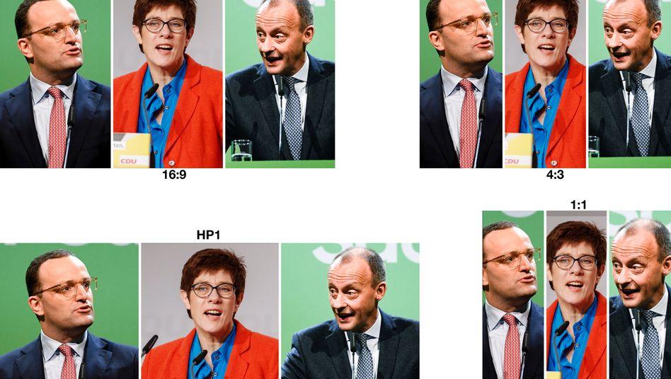 Kandidaten Spahn, Kramp-Karrenbauer, Merz