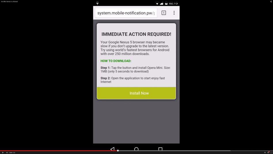 Vorgetäuscht Warnmeldung (Screenshot aus YouTube): Lieber nicht reagieren