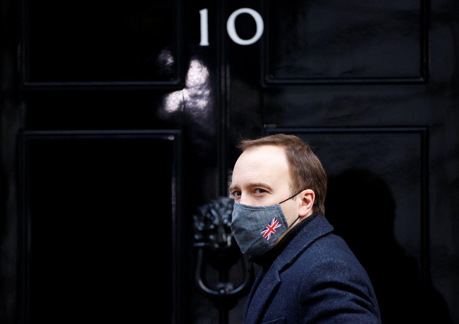 Britain's Health Secretary Hancock at Downing Street in London