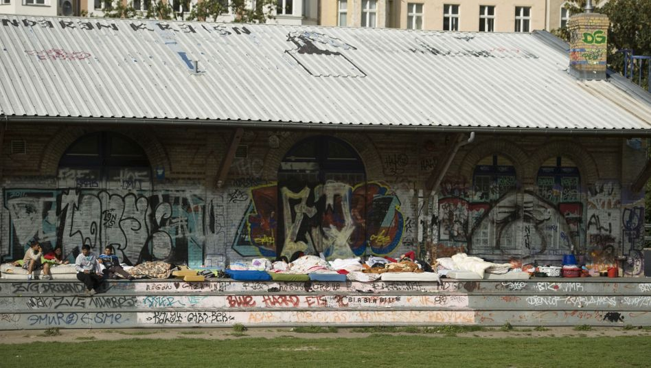 Sinti and Roma camped in a Berlin park in 2011.