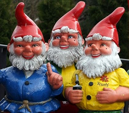These German garden gnomes are happy to have avoided the crime wave.