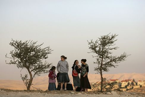 Settlers are seen near Maale Adumim in the West Bank in this 2007 file photo.