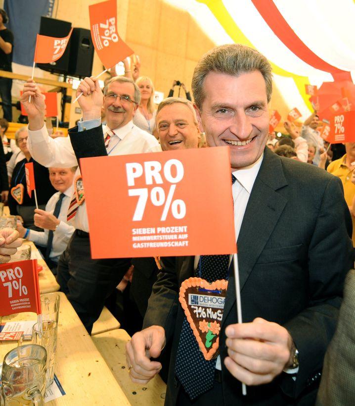 Ministerpräsident Oettinger (beim Hotel- und Gaststättenverband): Sieben Prozent Mehrwertsteuer für die Gastronomie - und sonst?