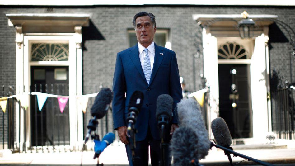 Mitt Romney in front of 10 Downing Street in London on Thursday.
