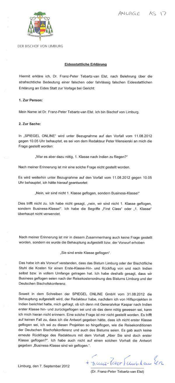 EINMALIGE VERWENDUNG SPIEGELBlog - Fall Tebartz-van Elst 2 NEU