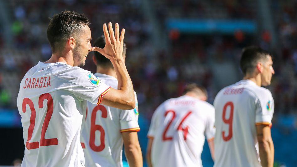 Der Spanier Pablo Sarabia bejubelt den kuriosen 1:0-Führungstreffer