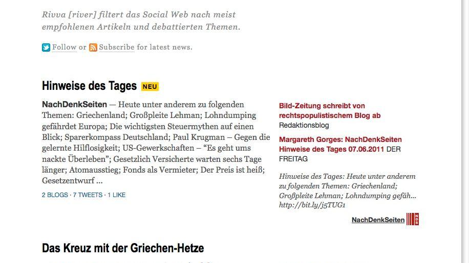 """Rivva: """"Filtert das Social Web nach meist empfohlenen Artikeln und debattierten Themen"""""""