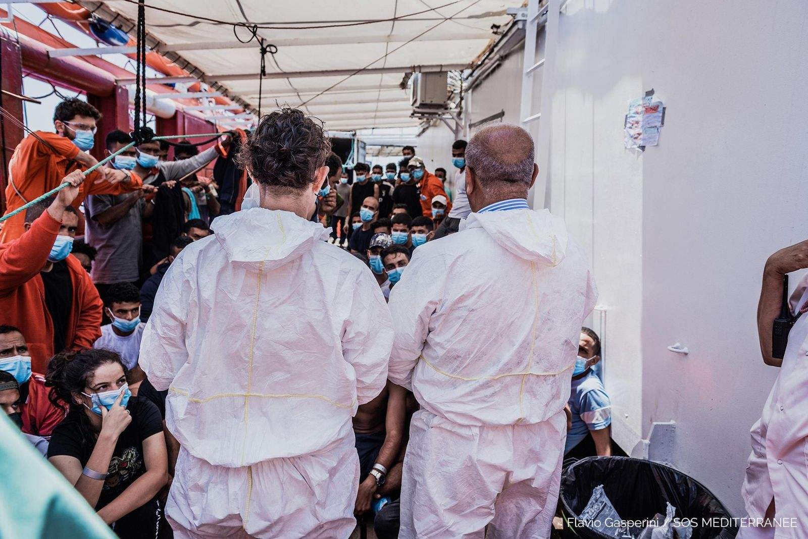 Migranti: team medico italiano lascia Ocean Viking, At Sea - 04 Jul 2020