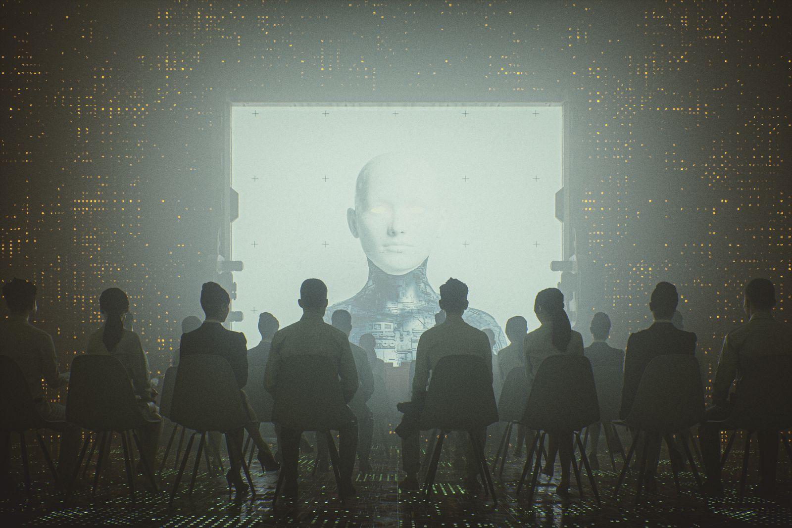 Futuristic cyborg religion and control