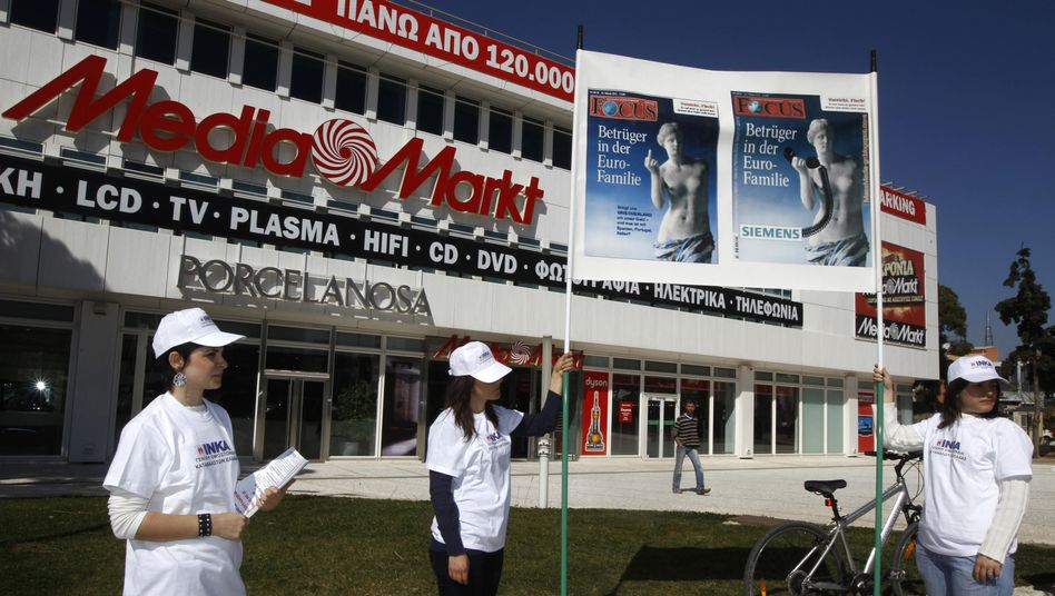 """""""Swindlers in the Euro Family"""": Many in Greece are boycotting German companies like consumer electronics chain MediaMarkt, pictured here, over the heavy-handed treatment their country has been given by the media in Germany."""