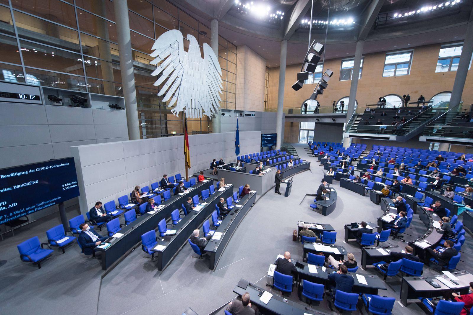 Berlin, Plenarsitzung im Bundestag Deutschland, Berlin - 26.11.2020: Im Bild ist der Plenarsaal während der Sitzung des