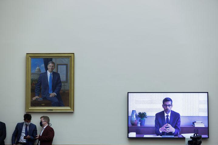 Spießrutenlauf: Alphabet-Vorstandschef Sundai Pichai bei seiner virtuellen Aussage vor dem Kongress