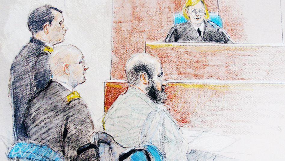 Gerichtszeichnung im Fort Hood: Angeklagter Hasan verteidigt sich nicht