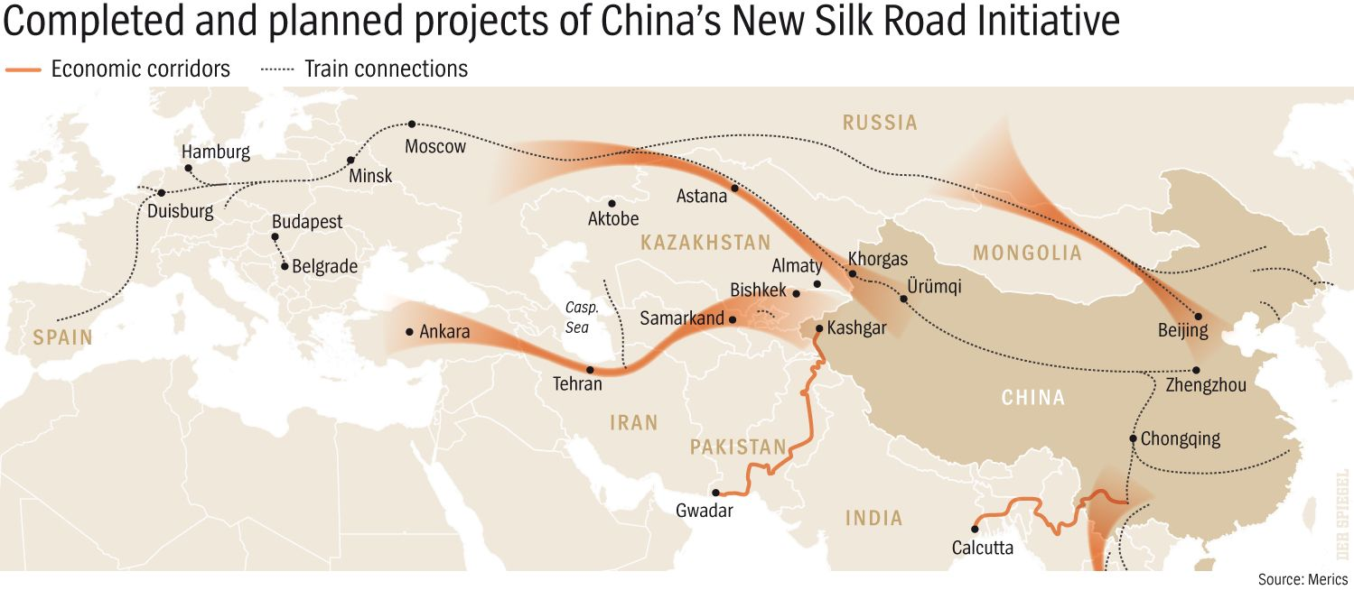 ENGLISH VERSION GRAFIK DER SPIEGEL 35/2016 Seite 82 - Completed and planned projects of China`s New Silk Road Initiative