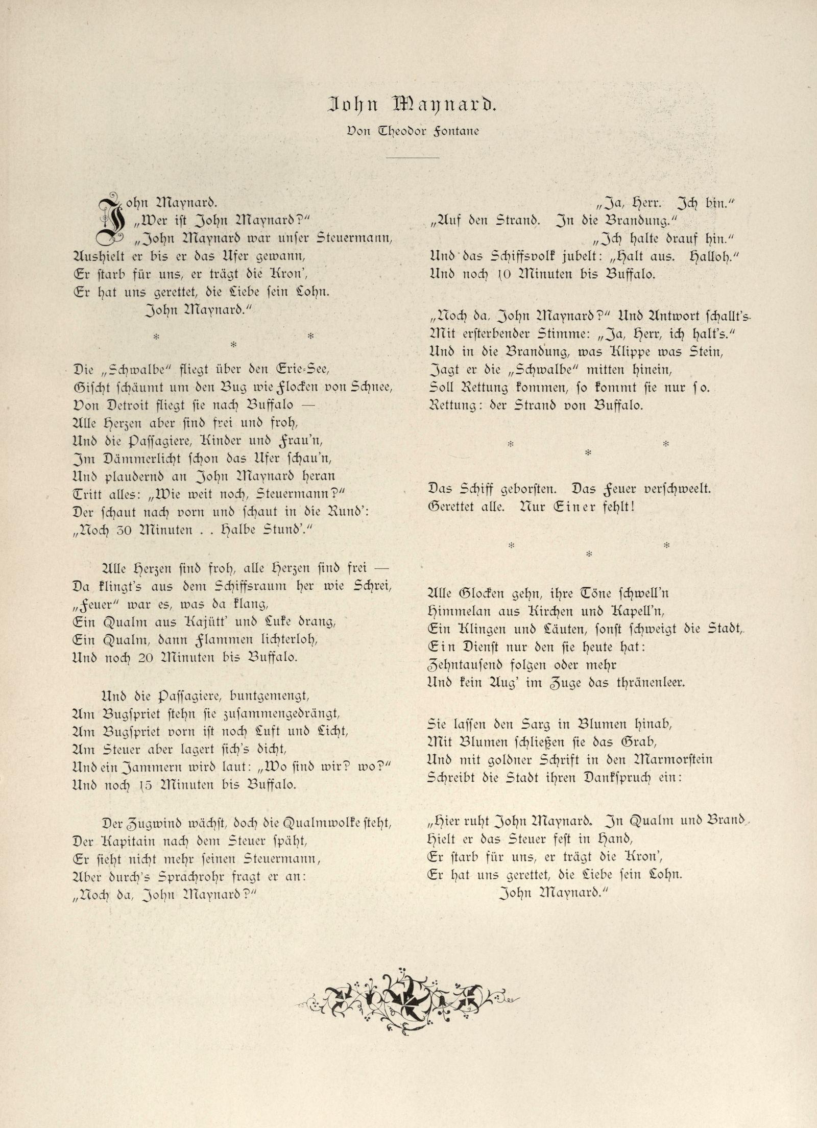 """Erstabdruck von """"John Maynard"""" Ballade von Theodor Fontane"""
