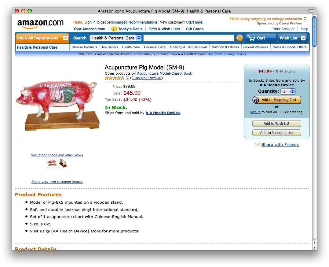 NUR ALS ZITAT Amazon #10 / Akupunkturschwein / Screenshot