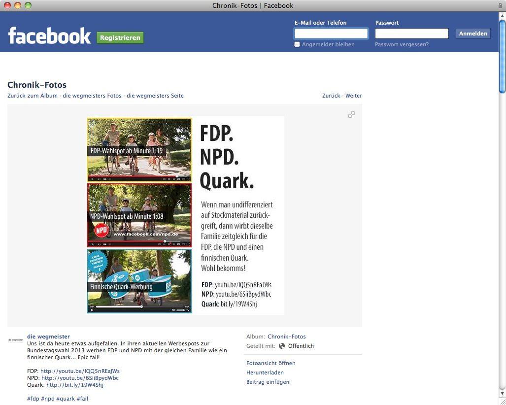 NUR ALS ZITAT Screenshot Facebook / Wahlwerbung FDB / NPD