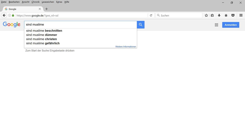 """NUR ALS ZITAT Screenshot Google Suche """"sind muslime"""""""