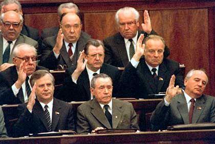 Gorbachev's election as head of state (October 1988): The youngest man in the Politburo. Eight members shown are, front row from left: Nikolai I. Ryzhkov; Gromyko; Gorbachev; second row: Viktor M. Chebrikov; Vitaly I. Vorotnikov; Lev N. Zaikov; back row: Alexander N. Yakovlev; Nikolai N. Slyunkov.