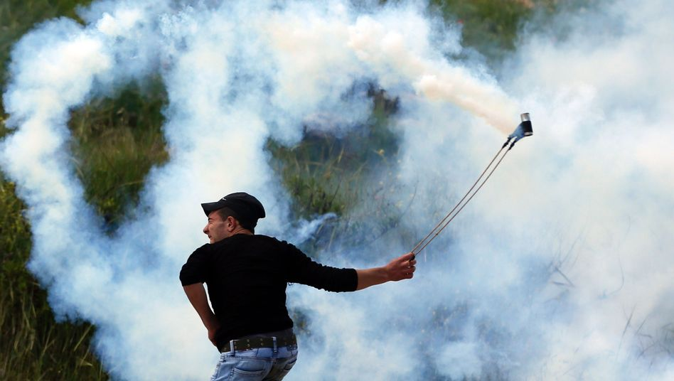 A Palestinian protester in West Bank