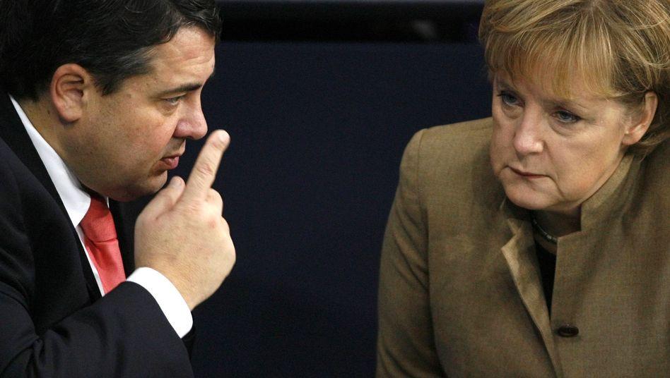 """SPD-Chef Gabriel, Kanzlerin Merkel: """"Es geht nicht um Befindlichkeiten der Parteien"""""""