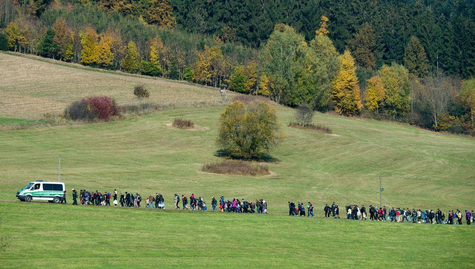 Refugees arriving in Bavaria in October