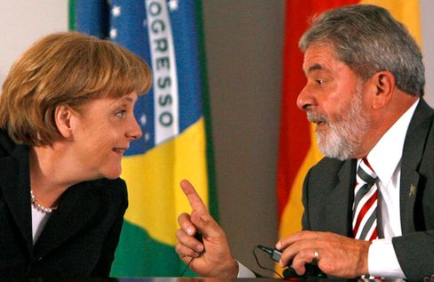 "Chancellor Merkel and President Lula in 2008 in Brazil: ""She is respected around the world."""