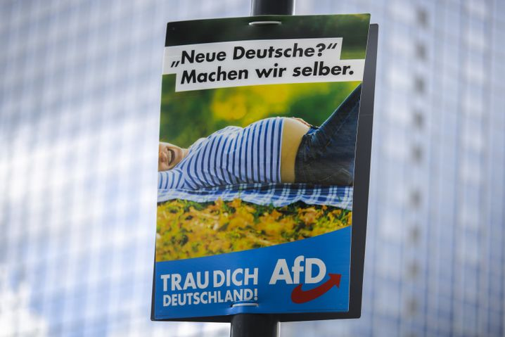 "This AfD ad reads: ""New Germans? We'll make them ourselves."""