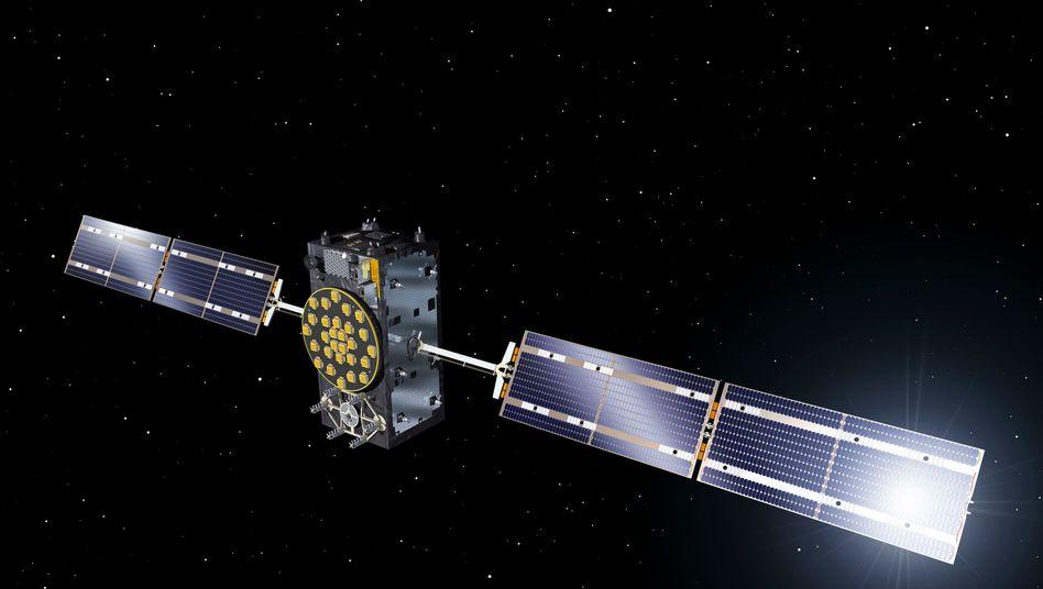 """Ein """"Galileo""""-Satellit im All (künstlerische Darstellung)"""