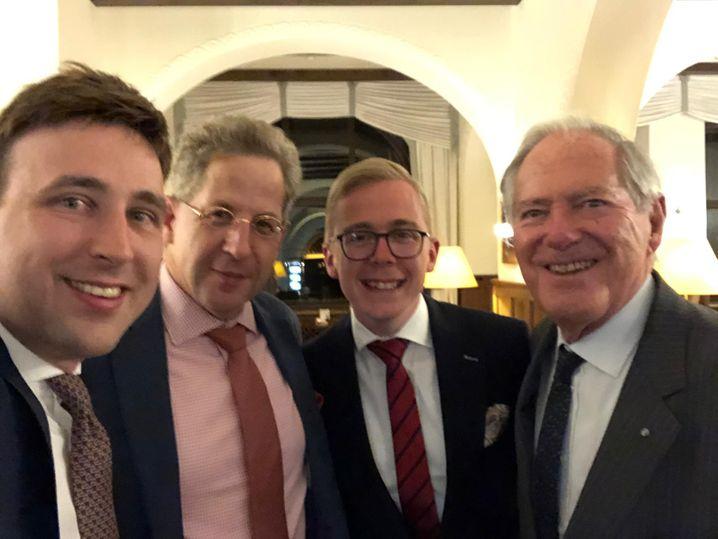 Treffen in St. Moritz: Wolfgang Haupt, Hans-Georg Maaßen, Philipp Amthor, Roland Berger (v.l.)