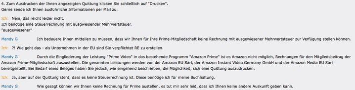 Dialog zwischen Schlüter und Amazons Kundendienst