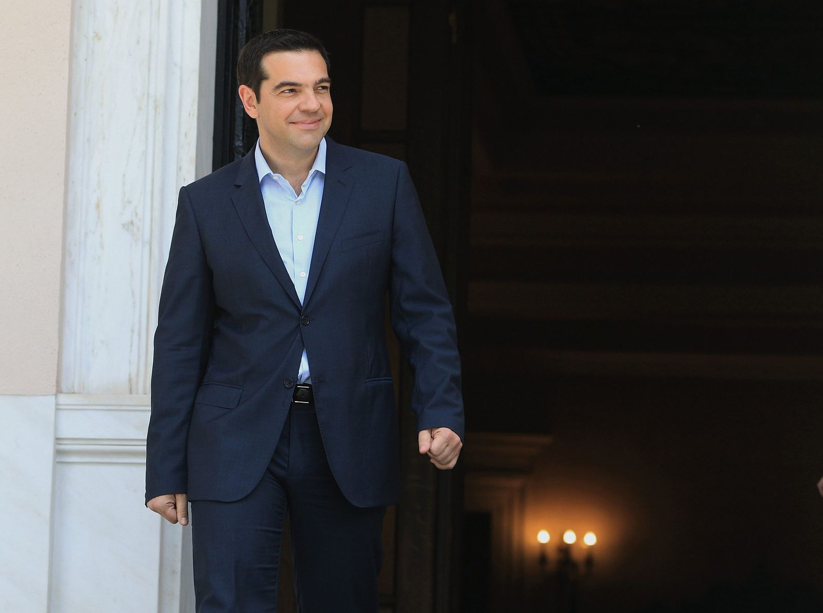 Greek Prime Minister Alexis Tsipras meets the laid-off cleaners o