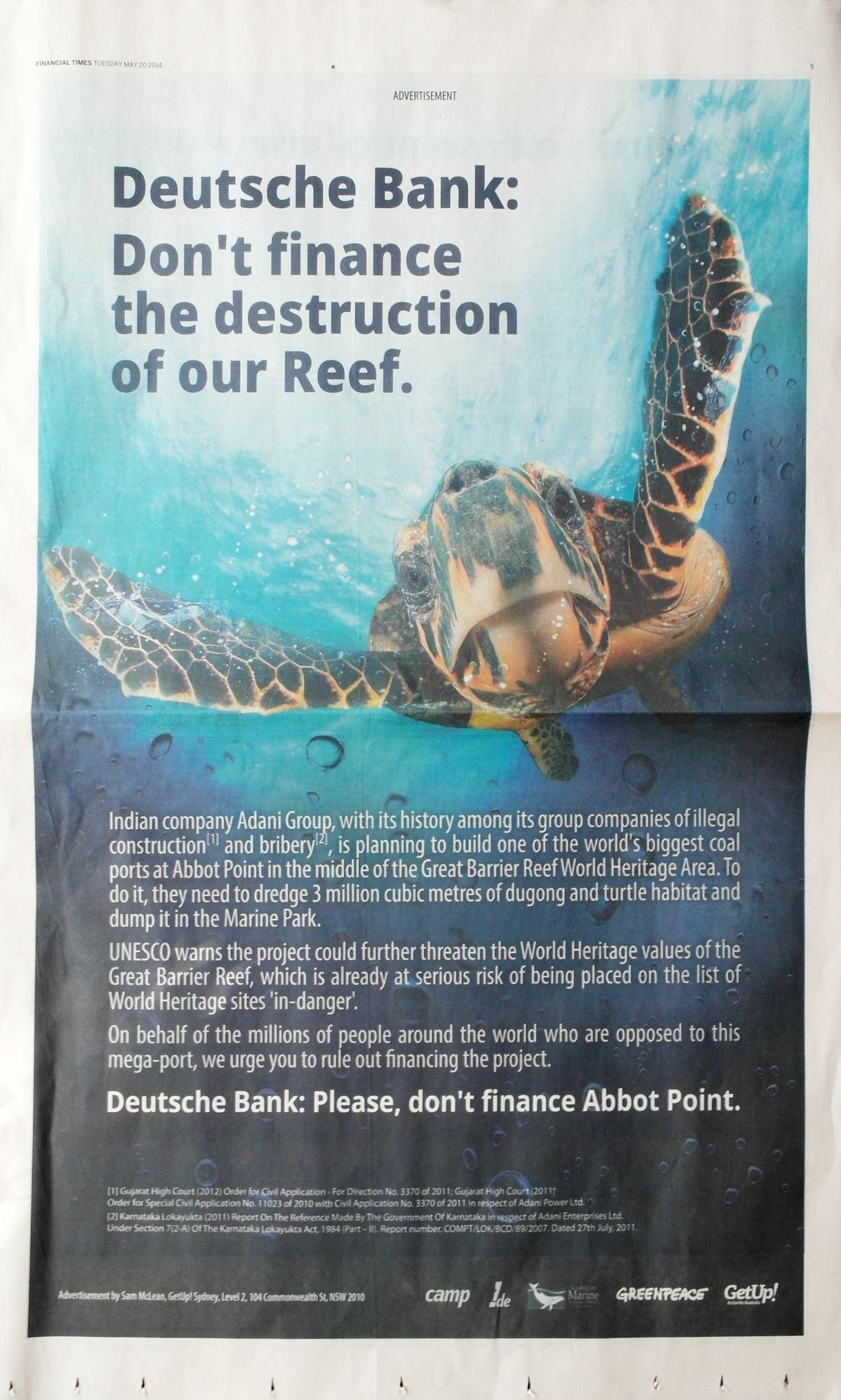 Anzeige Deutsche Bank/ Abbot Point