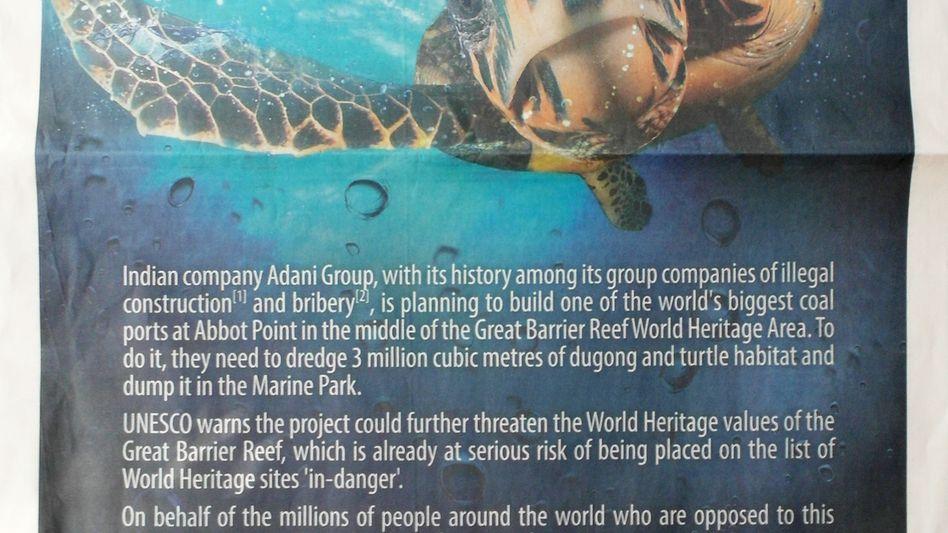 """Anzeige in der """"Financial Times"""": """"Finanziert nicht die Zerstörung unseres Riffs"""""""