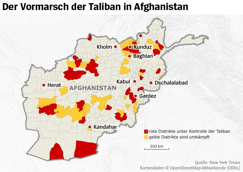 Karte - Vormarsch der Taliban in Afghanistan