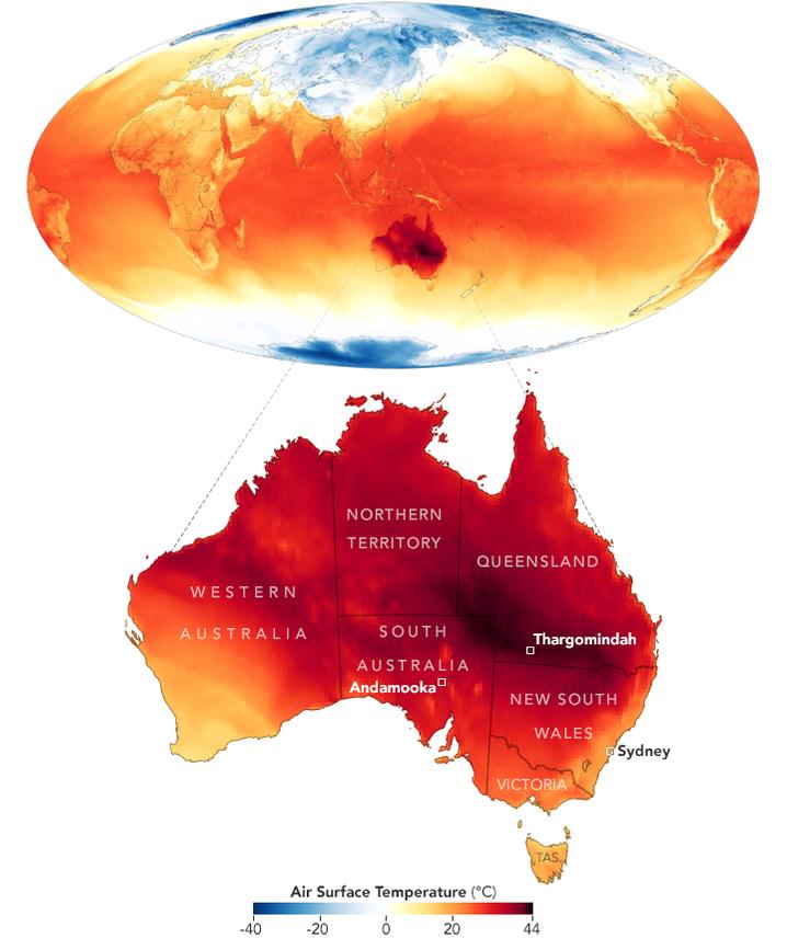 Karte von Australien mit Hitzeentwicklung und globalem Modell